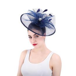 piume di cavallo Sconti Blu Moda d'epoca da sposa da sposa grandi cappelli della maglia del merletto che bordano i cappelli banchetti Horse Racing Festival Piuma Copricapo signore