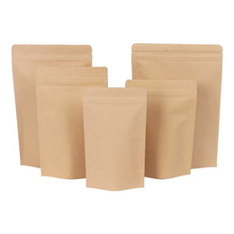 sacchetto di bloccaggio dell'impugnatura Sconti 500pcs Zipper Brown Kraft alluminatura sacchetto, Stand up kraft alluminio carta sacchetto richiudibile Zip Grip Blocco sigillare Food Grade DHL