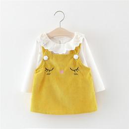 2019 vestidos da camiseta da luva longa da criança 2019 Outono Vestido de Bebê Para A Menina de Manga Longa T-Shirt + Vestido Infantil 2 Pcs Bebê Menina Roupas Crianças Clohing Set Princesa Criança Dresse desconto vestidos da camiseta da luva longa da criança