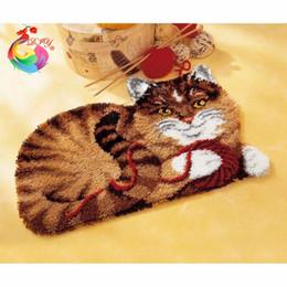 hand eingehakt teppiche Rabatt Cartoon Katze Stickerei Diy Hand Sets Unfinished Häkeln Garn Matte Knüpfteppich Kit Bild Teppich Set Q190531