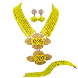 Set di gioielli in rosa giallo online-Fashion Opaque Yellow African Beads Set di gioielli in cristallo 6LDH02