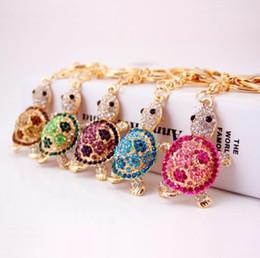 Стразы для ключей для женщин онлайн-Симпатичные брелок золото-цвет горный хрусталь Черепаха брелки металлический брелок для ключей мода животных Черепаха женщины сумка держатель ключа