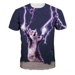 Camisas de espaço para galáxias femininas on-line-Nova Moda Camisa de Verão Gato Relâmpago Impresso 3d T Shirts Espaço Galaxy Mulheres Tops C19042201