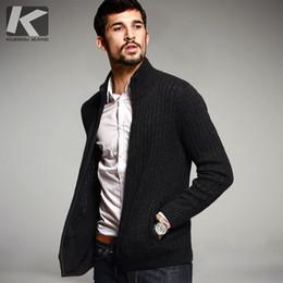 Casaco preto para homens finos on-line-Moda Outono Mens Blusas de Malha Masculina Cardigan de Inverno Preto Malha Slim Fit Zipper Roupas Marca SweaterCoats