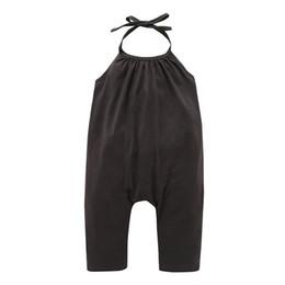 Feste overalltaschen online-2019 Hot Fashion Kids Designer Kleidung Mädchen Sommer Neckholder Neckholder Overalls Unifarben haben Taschen