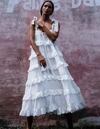 Argentina 2019 una línea vestido blanco Boho vestido de correa de algodón sólido vestidos de verano sexy sin mangas de encaje ropa de playa hippie azul vestidos de mujer vestidos cheap solid white cotton beach dresses Suministro