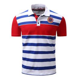 Estilo europeu homens roupa casual on-line-Moda verão Mens Camisas Polo Casual Tops Padrão Bordado Listrado Camisas Estilo Europeu E Americano Para Homens Plus Size Asiático Vestuário