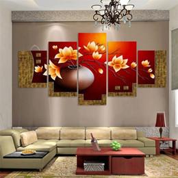 Peintures à l'huile vases en Ligne-5 Pièce Fleur Vase Toile Art Print Peinture À L'huile Mur Photos pour Salon Peintures Mur Décor Design Moderne pour Chambre Salon