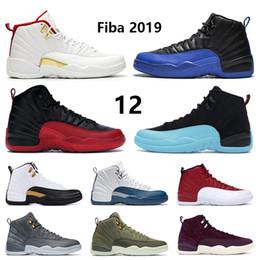 2020 zapatos alados azules 12 12s de baloncesto zapatos de hombre para hombre reales 2020 Fiba negro burdeos alas CNY Juego de la gripe gimnasio diseñador taxi rojo zapatillas de deporte de Estados Unidos 7-13 rebajas zapatos alados