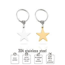 Llaves en blanco de acero inoxidable online-Color oro llavero 304 de acero inoxidable en blanco estrella colgante del encanto DIY Keyholder / key Fob / key accesorios 10pcs