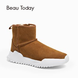 closure boots Coupons - BeauToday Women Snow Boots Brand Top Quality Genuine Leather Cow Suede Zipper Closure Winter Lady Ankle Boots Handmade 08012