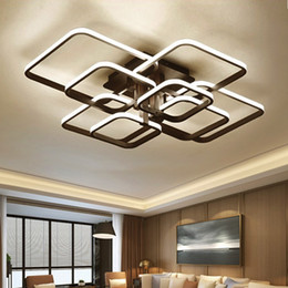 Carré Noir Moderne LED Lustres Éclairage Pour Salle À Manger Salon Chambre À La Maison Décor Au Plafond Décor Luminaires Lampe Lustre ? partir de fabricateur