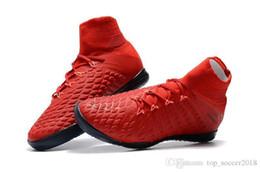 Argentina Botines de fútbol de colores rojos Original Hypervenom Phantom III DF IC Neymar Hombres zapatos de fútbol para interiores Mejor calidad botas de fútbol Suministro