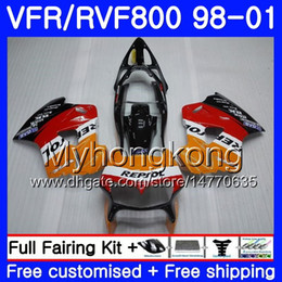 Corpo para HONDA Interceptor VFR800R VFR800RR 98 99 00 01 259HM.0 VFR800 VFR 800RR VFR 800 RR 1998 1999 2000 2001 Kit de carenagem Repsol orange de