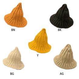 boonie sombreros verde Rebajas Las mujeres linda bruja puntiagudo sombrero del cubo de punto acanalado invierno Pescador color sólido Cap 95AB