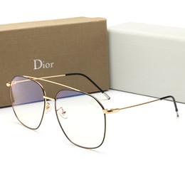 blaue verspiegelte designer-sonnenbrille Rabatt New fashion designer männer sonnenbrillen sommer anti-blue light gläser mit vollen rahmen für männer frauen flache spiegel luxus brille mit box