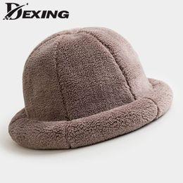 6900c86ae35a87 2018 thick warm faux fur winter bucket hat women men solid color panama girls  flat top Velvet Cap ladies bob