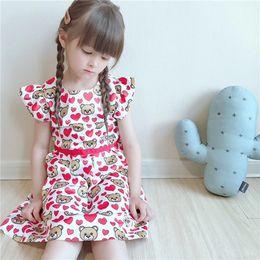 6a6a8b3b0 2019 niños niñas imprimir osos dulces del corazón vestidos de niña de verano  vestido de tutú rojo niños ropa al por mayor