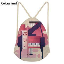 piccolo uomo di stringa Sconti Coloranimal Note Musicali con tastiera di pianoforte 3D Stampa Borsa con coulisse Donna Uomo Riutilizzabile Piccola stringa Zaino Cinch Satchel