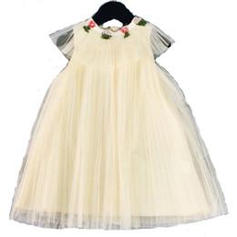 Argentina Niños del verano vestido de las muchachas del cordón de gasa floral hojas bordado princesa vestido niños falbala mosca manga de encaje vestido de tul F8169 Suministro