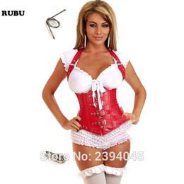 2019 vestido corset de una pieza Negro, cuero rojo, bajo el pecho de acero, deshuesado y sexy corsé con cuello halter y hebilla de cinturón para mujer Remaches Bustier Plus tamaño