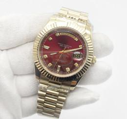 мужские часы с красными лицами Скидка Дата дня Мужские часы President 18-каратное золото Бриллиантовое число Мужские часы Нержавеющая сталь Сапфировое стекло Красные часы мужские часы