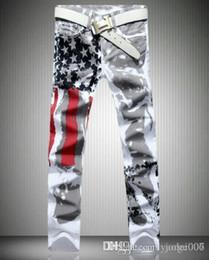 amerikanische stern jeans Rabatt mode amerikanische flagge gedruckt jeans high stretch schlank casual fünfzackigen stern rot streifen große hose
