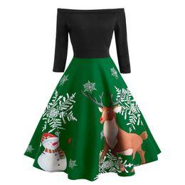 Sonbahar Kadınlar Noel Elbise Yeni Yıl Kadın Vintage Noel Baskılı Elbise Bayanlar Uzun Kollu Elbise Noel nereden dantel cape gelin elbisesi tedarikçiler