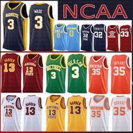 1cc8c65bb563 NCAA Marquette Golden 3 Dwyane Eagles Wade Jersey Arizona State James 13  Harden Bethel High School Allen 3 Iverson 35 Kevin Raiders Durant