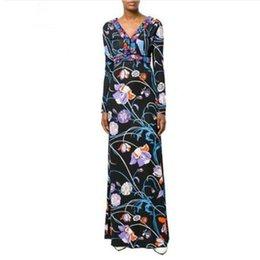 Vestido de seda primavera mujer maxi online-Nuevo 2019 primavera vestido de diseñador de lujo de manga larga de las mujeres de la geometría de impresión XXL Stretch Jersey de seda Spandex Maxi vestido