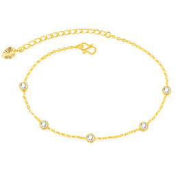 Chaîne délicate de chaîne de cheville en zirconium cristal à ton doré ? partir de fabricateur