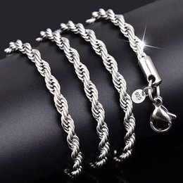 La corda forma fisica online-3mm 925 Sterling Silver Necklaces Rope Chain Fit for Pendant Men Necklace Women Fashion Jewelry DIY Accesories 16 18 20 22 24-30 Inches