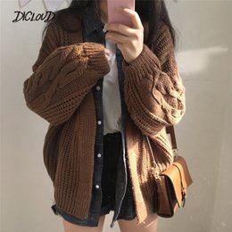 Cardigan suéter de la universidad de las mujeres online-DICLOUD New Autumn Knit Sweater Women 2018 Fashion Harajuku Loose Warm Cardigan Women College Casual manga larga abrigo de invierno Y190829