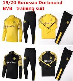 Hommes mis survêtements en Ligne-2019/20 Borussia Dortmund survêtement Veste Set Homme Kit manches longues Combinaison d'entraînement 2019 2020 Borussia Dortmund football vêtements vêtements de sport