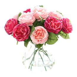 Rose artificiali di plastica online-Rose di notte artificiali 6 colori Home Rose decorative Rose Panno di seta Fiori finti Fiori perfetti per feste
