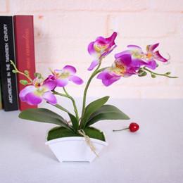 2019 настоящие цветки орхидеи Искусственный цветок + vas Butterfly Orchid Flower Real Touch оставляет искусственные растения в целом цветочные на свадьбу ко дню Святого Валентина GB146