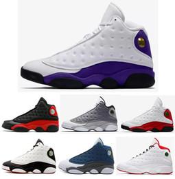 Zapatos de vuelo online-Nuevo 13 13s Lakers Rivals Zapatillas de baloncesto blancas y púrpuras Hombres Historia del vuelo Zapatillas deportivas con caja