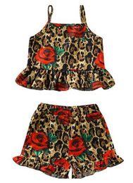 Maglia di leopardo dei capretti online-Estate infante appena nato vestiti della ragazza Set Kids Designer floreale Leopard Vest Pantaloncini 2Pcs Set del bambino della neonata vestiti