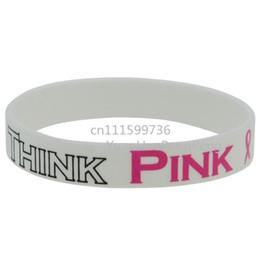 Ленточные браслеты онлайн-50 шт. / Лот Подумайте Розовая Лента Рак молочной железы Осведомленность Браслет рака молочной железы