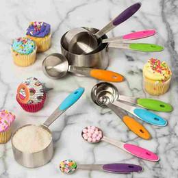 10 teil / satz Edelstahl Messlöffel Skala Küche Silikon Messbecher und Löffel Set Zum Backen Zucker Kaffee Messwerkzeuge von Fabrikanten