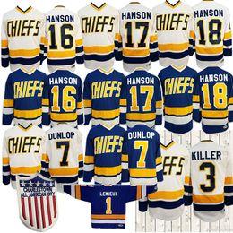 Camisola do hóquei chefes on-line-Hanson Irmãos # 16 # 17 # 18 Dunlop Reggie 7 Denis Lemieux 1 Dave assassino 3 Charlestown Chief Slap Shot Hockey Jersey S-3XL