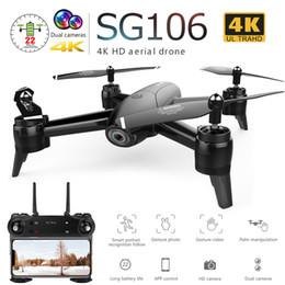 2019 аэрофотоаппараты Sg106 Drone с двойной камерой 1080p 720p 4k Wifi Fpv в режиме реального времени воздушное видео широкоугольный оптический поток Rc Quadcopter вертолет игрушки T190621 дешево аэрофотоаппараты