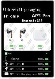 display led do banco de energia Desconto Os mais recentes de alta qualidade chip de auscultadores H1 headset Renomeado 3ª Geração de carregamento sem fio Bluetooth fones de ouvido GPS Posicionamento AP3 Pro in-ear