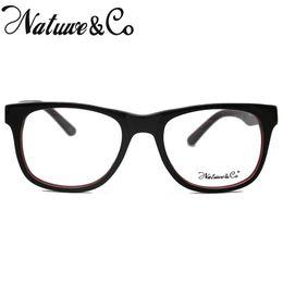 46d5b6f5c4 2019 rectángulo claro lente NatuweCo Retro Rectangle Acetate Eyeglasses  Clear Lens BlackBurgundy Vintage Frame 8371 C1