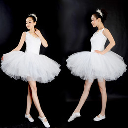 tutu dresses adults Promo Codes - New Professional Gymnastics Ballet Tutu Dress Swan Lake Adult Prom Party Costume Sling White Ballet Dress Tutu Woman Dancewear