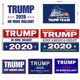 Bandiere giardino esterno online-Trump Flags 90 * 150cm Outdoor Garden Decorate USA President General Election Banner 2020 Trump Flag Pennant Banner 5077