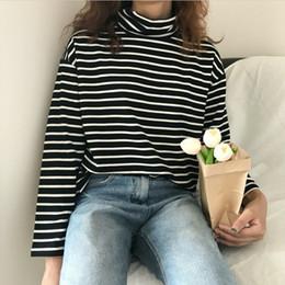 Telas de jersey online-La primavera y el otoño de la manga larga de cuello alto a rayas camiseta ocasional de la camisa jersey suelto Regualr Tops paños femeninos