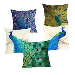 cojines de pavo real Rebajas Peacock imprime la funda de almohada cuadrado de tela de lino Sofá Cojín banda fundas de almohada Para el hogar Decoración Habitación Hotel 45 * 45cm 4 2QL E1