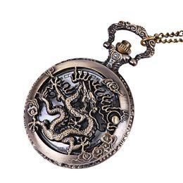 2019 weißgold adler anhänger Vintage Retro Bronze Dragon Quarz Taschenuhr Anhänger Kette Halskette Uhr Anime Taschenuhr Uhr Anhänger