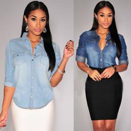 2019 blusen jeans frau Retro Frauen Casual Blue Jean Soft Denim Langarmhemd Tops Bluse Damen Hemd Blusen Top günstig blusen jeans frau
